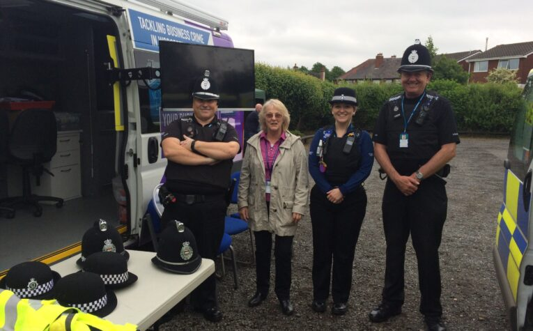Margaret Sherrey with Police officers