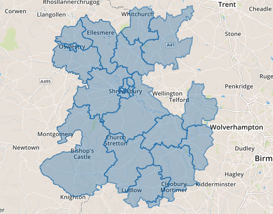 Are map of Shropshire
