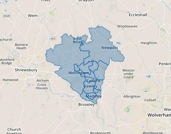Area map of Telford and Wrekin